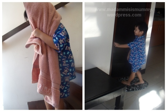 Sometime JanuaryI love how Aki is now big enough to help. Here his dad asked him to get the towel from the 2nd floor