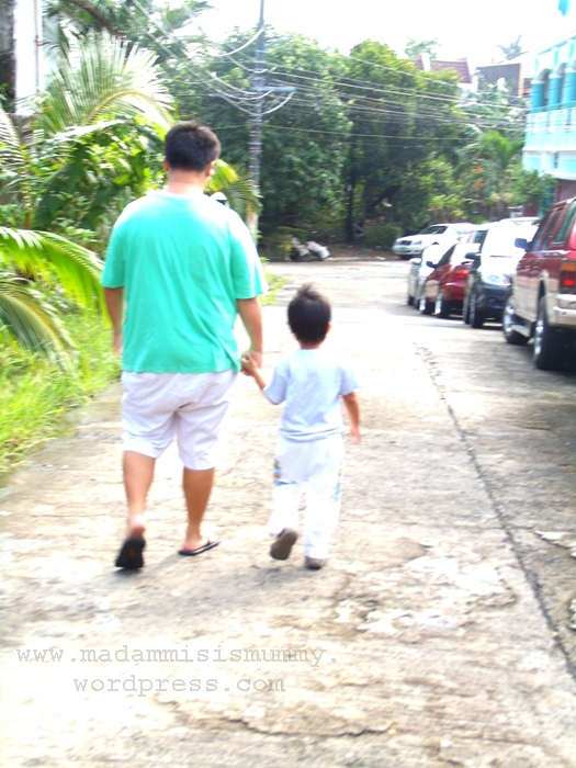 I took this photo because I want to remember that when Aki turned 4, he was this  tall and he still liked to hold our hands while walking.